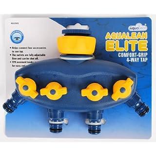 Aqualean Elite Comfort Grip 4 Way Tap For Garden Hosepipes (Fits Hozelock) AL6260S