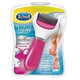 Scholl Velvet Smooth Express Pedi rosa, elektrischer Hornhautentferner mit Ersatzrolle Extra Stark mit Mikrogranulaten und Diamantpartikeln
