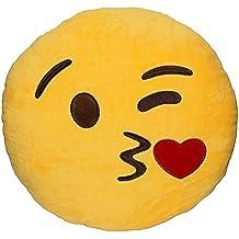 FEIYI 32cm Emoji Emoticono Cojín Amarillo Almohada Redonda Emoticon Bordado Sonriente Suave / Bebé / Niño / Amigos (Kiss)