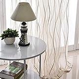 ZYY-Home curtain Tenda a Occhiello Semitrasparente Sciarpa a Occhiello Strisce per Finestra Decorativi a Colori Strisce Balcone di Tende,Coffee,W120xL140cm*1piece