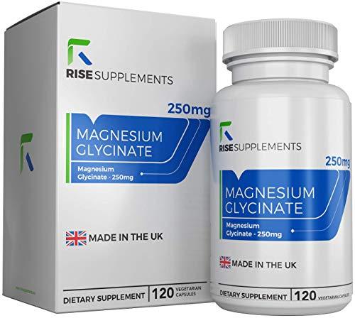 Magnesiumglycinat [250 mg] | Hochdosierte Magnesium-Kapseln | 120 vegane Tabletten von Rise Supplements | Hergestellt in Großbritannien in ISO-zertifizierten Betrieben | Geld-zurück-Garantie - Magnesium-120 Tabletten