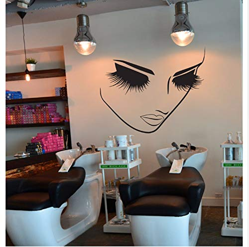 XQWZM Lashes Makeup Wall Decor Girl Face Beauty Salon Wall Sticker Hairstyle Hairdresser Decor Spa Room Wall Decal Vinyl Murals 80 * 96Cm