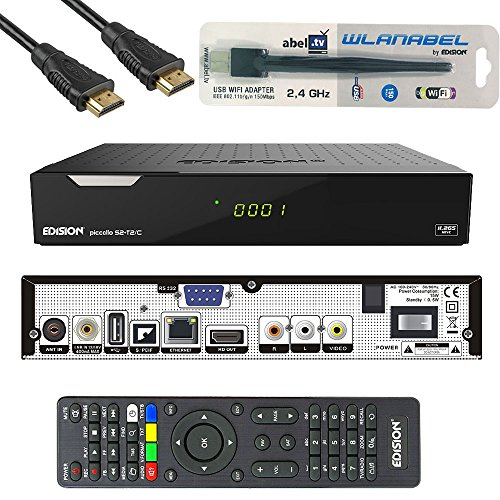 Edision Piccollo S2+T2/C Full HD Satelliten-Kabel-Receiver FTA HDTV DVB-S2/C/T2 (HDMI, AV, USB 2.0,Display,CA,CI,LAN) Deutsch vorprammiert inkl.Wlanabel und HDMI Kabel