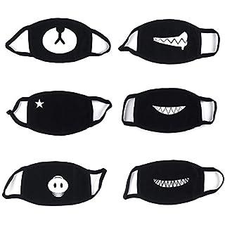 6 Stück Baumwolle Masken, Unisex Wiederverwendbar Mundschutz, Anti-Beschlag Maske, Kälteschutz Gesichtsmaske, Unisex Wiederverwendbar Kawaii Für Männlich Frau Von Proacc (Schwarz)