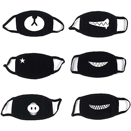 ropa kawaii para los mas guays 6 Piezas Algodón Máscaras, Bicicleta Máscara, Protección Contra el Polvo Mask, Suave Kawaii Cálido Máscara De Proacc (Negro)
