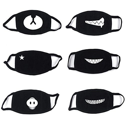 6 Pacchi Di Cotone Maschera, Antipolvere Maschera, Bicicletta Maschera, Kawaii Morbido Caldo Maschera, è Maschio Donna Da Proacc (Nero)