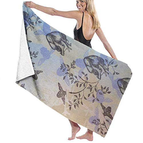 xcvgcxcvasda Serviette de bain, Vintage Bee Heart Flowers Premium 100% Polyester Large Beach Towel, Suitable for Hotel, Swimming Pool, Gym, Beach, Natural, Soft, Quick Drying
