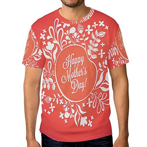 T-Shirt für Männer Jungen Blumen Wort Happy Mothers Day Custom Short Sleeve -