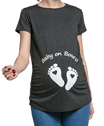Happy mama donna maternity. magliette premaman divertente piedi neonato. 199p (grafite melange, it 44/46, xl)