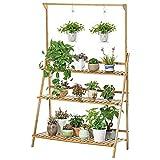 UNHO Estantería para Macetas Estante Decorativo de Bambú para Plantas Flores Estantería Escalera para Jardín Exterior Interior con 3 Niveles 70 x 40 x 96cm