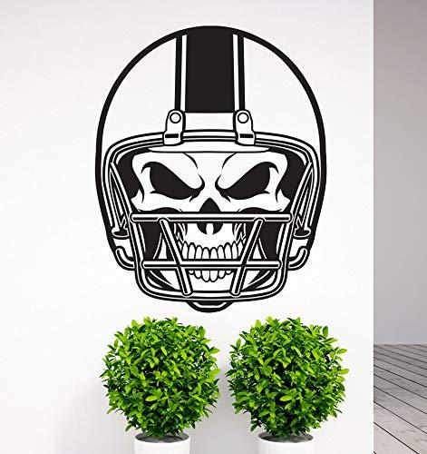 Football NFL Helm Schädel Vinyl Wandtattoo Kunst Aufkleber Home Wohnzimmer Schlafzimmer Wand Decor Wandbild Sport 57X71CM ()