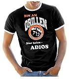 Coole-Fun-T-Shirts Herren T-Shirt BIN AM GRILLEN - Keine Tipps - Bier holen ADIOS ! RINGER GRILLSPORT