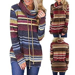 Hanomes Damen Rundhalsausschnitt Streifen Pullover Casual Sweatshirt Mode Kordel Tops Pullover Bluse Shirt