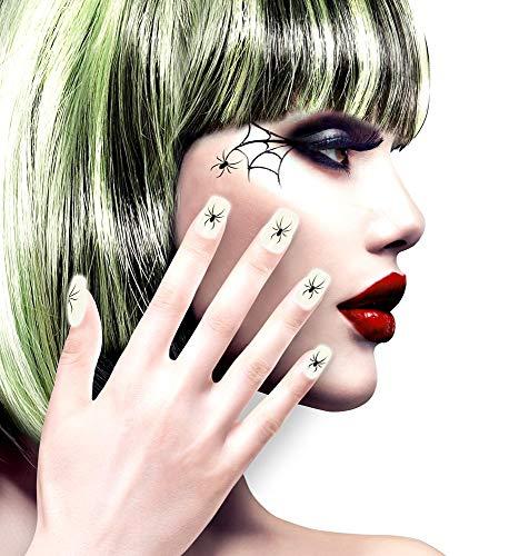 shoperama 12 Selbstklebende Nägel mit Spinnen Glow in The Dark fluoreszierend Accessoire Kostüm-Zubehör Fingernägel