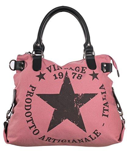 Damen Handtasche Canvas Tasche Stern Vinatge Druck Schultertasche Umhängetasche TUS03 Altrosa