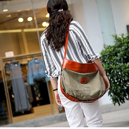 &ZHOU femminile borsa di tela borsa a tracolla grande capacità zaino Messenger Messenger bag di svago di modo 47 * 45 * 16cm , army green army green