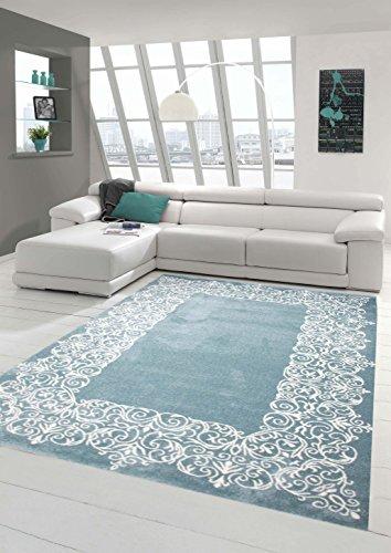 Alfombra alfombra diseñador contemporáneo alfombra de la sala alfombra de pelo corto con crema turquesa pastel frontera Größe 200 x 290 cm