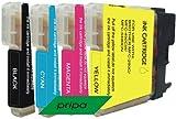 4 Patronen für Brother kompatibel zu LC 980,  schwarz / cyan/magenta/yellow