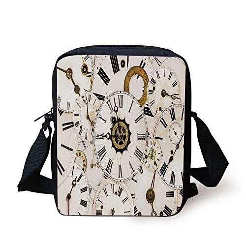 Antique,Collection of Vintage Classic Clock Faces Aged Analog Time Head Minute Hour Print,White Black Print Kids Crossbody Messenger Bag Purse -