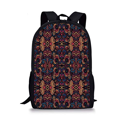 School Bags Bohemian,Hand Drawn Image with Oriental Rainbow Colored Floral Swirls Glass Pattern Image,Multicolor for Boys&Girls Mens Sport Daypack -
