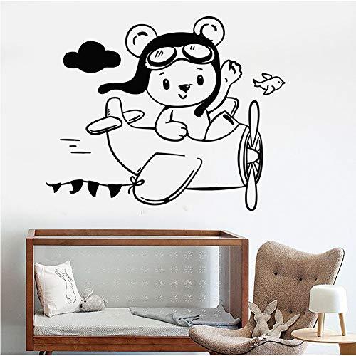 8fffe63d68ae lyclff Teddy Bear Aviator Avion Stickers Muraux Vinyle Sticker Décor Petite  Chambre Enfants Sticker Mural Amovible