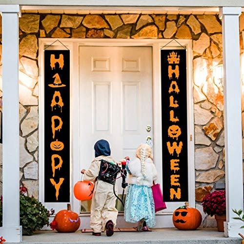 FunPa 1 Paar Halloween Dekoration Hängen Banner Zeichen für Zuhause Indoor Outdoor wasserdichte Halloween Veranda Zeichen für Büro Hof Wand Tür Party Dekoration Supplies (Halloween-zeichen Für Hof)