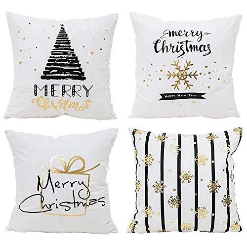 Kissenbezüge,Hunpta 4 stücke Weihnachten Stilvolle Polyester Kissenbezug Sofa Kissenbezug Home Decor (A)