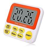 Wimaha Timer da cucina digitale con orologio, timer da cucina con allarme forte, retro magnetico, grandi cifre, compiti a casa, ginnastica, gioco (Rosso)