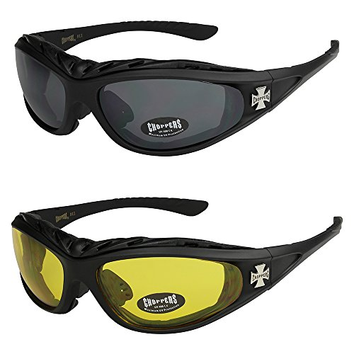 2-Pack Choppers foam padded goggles sunglasses in the colours black, anthracite, silver and white - Unisex, Men, Women, Men's, Women's, Motorbike, Motorcycle, Sport, Sports, Biker, Cycling, Glasses