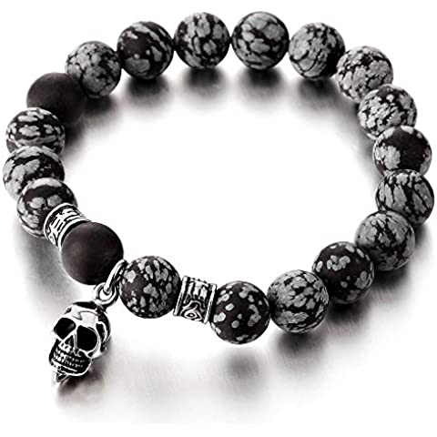 Uomo Bracciale del Cranio Teschio, Uomo Braccialetto di Perle Onice Opaca 11MM, Acciaio Inossidabile - Acciaio Inossidabile Braccialetto Del Cranio