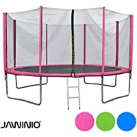 Preisvergleich für Jawinio Trampolin 425 cm (14F) Gartentrampolin Jumper Komplett-Set inkl. Leiter, Sicherheitsnetz und Sprungmatte Grün, Blau Oder Pink