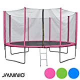 Jawinio Trampolin 425 cm (14F) Gartentrampolin Jumper Komplett-Set inkl. Leiter, Sicherheitsnetz und Sprungmatte Grün, Blau Oder Pink (Pink)