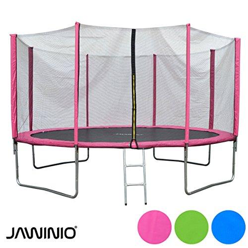 Jawinio Trampolin 366 cm (12F) Gartentrampolin Jumper Komplett-Set inkl. Leiter, Sicherheitsnetz und Sprungmatte Grün, Pink Oder Blau (Pink)