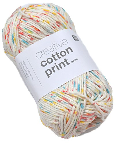 Rico creative cotton print aran Farbe 14 - daisy dots Baumwollgarn zum Stricken & Häkeln