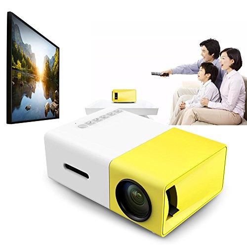 DJG LED-Miniprojektor 400-600LM 1080P Video 320 X 240 Pixel Medien LED-Lampe Spieler Bester Hauptprojektor Gelb,EU