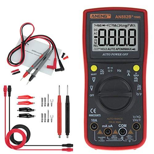 Qintaiourty Multimeters, AN882B+ True-RMS Digital Multimeter Auto-Range 6000 Counts TRMS NCV AC DC Meter