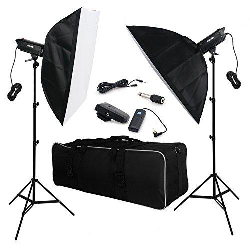 BPS 1200W Professionale Illuminazione Fotografico Flash da Studio Strobe Fotografia Lighting Kit,Sistema di raffreddamento a Ventilatore, 2x600W Strobe Luce + 80-280cm alluminio Luce Supporto, + 70x100 Softbox +Wireless Studio Flash Trigger + Borsa di Trasporto