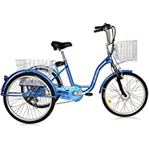 """Jorvik Triciclo eléctrico para adultos de 26"""", 36V, 250W, rojo"""