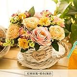 LLPXCC künstliche Blume Wohnzimmer Esstisch Swing Haus und Einrichtung Amerikanische Stroh Topfpflanzen und Wandmontage zum Korb Blumen Basketsthatmixed Blumensträuße Rosa Gelb