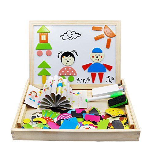 Flerise Fantastic Learning & Education Magnetic Puzzle Wooden Multifunction Writing Drawing Toys Board for Kids Imagination