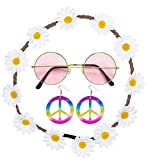 Die besten Kostüm Schmuck - Hippie Set 70er Jahre Kostümset 3 tlg. Brille Bewertungen