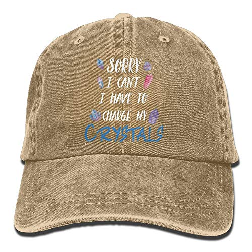 fgjfdjj Sorry I Can't I Have to Charge My Crystals Adult Denim Dad Solid Baseball Cap Hat Black Solid Black Crystal Snap