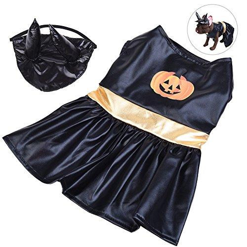 g, PET Halloween-Kostüm Charming Hund Bekleidung Fancy Haustier Kleid mit Ochse Horn mit Kopfbedeckungen und Kürbis Muster, geeignet für kleinen Hunde, schwarz, M (Halloween Kürbisse Spiel Online)