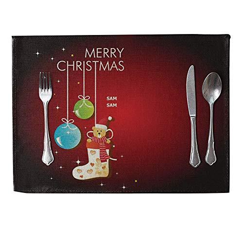 danigrefinb Weihnachtsbaum Wärmedämmung Matte Leinen Tisch-Sets Küche Esstisch Decor bunt, 6Stück 9# (9 Stück Runder Esstisch Set)