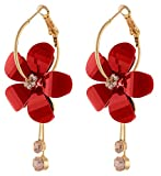 YouBella Jewellery Gold Plated Fancy Party Wear Earrings for Girls and Women (Red)