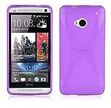 Cadorabo Hülle für HTC One M7 (1.Gen.) Hülle in Handyhülle aus flexiblem TPU Silikon im X-Line Design Silikonhülle Schutzhülle Soft Back Cover Case Bumper Flieder Violett