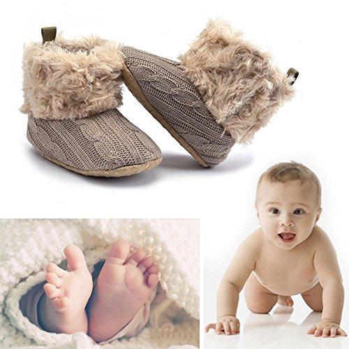 niceEshop(TM) Bébé Filles Tricot Doux Fourrure Hiver Chaude Bottes de Neige Berceau Chaussures Noir Kaki