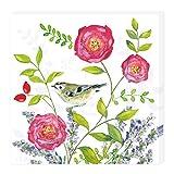 Grätz Verlag 20 Stück Servietten mit Blumen und Vögeln, Blume, Bunt, Weiß, Blau Grün, Rot, Lila, Retro, Vintage, Quadratisch