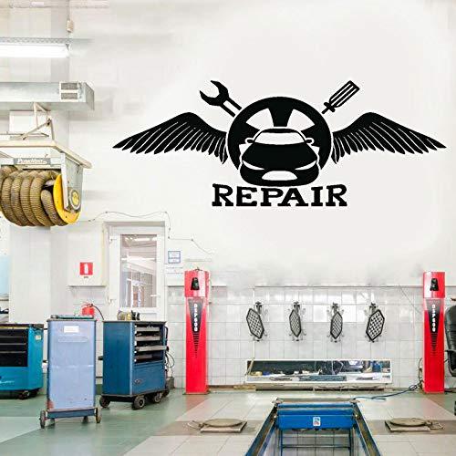 Modeganqingg Diseño Creativo Car Auto Shop Herramientas de reparación del Cuerpo Llave Inglesa Pegatinas de Pared vinilos Decorativos calcomanías para Ventanas Negro 151x57cm