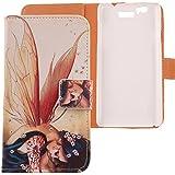 Lankashi PU Flip Funda De Carcasa Cuero Case Cover Piel Para BQ AQUARIS 5.7 / FNAC PHABLET 5.7 Wings Girl Design
